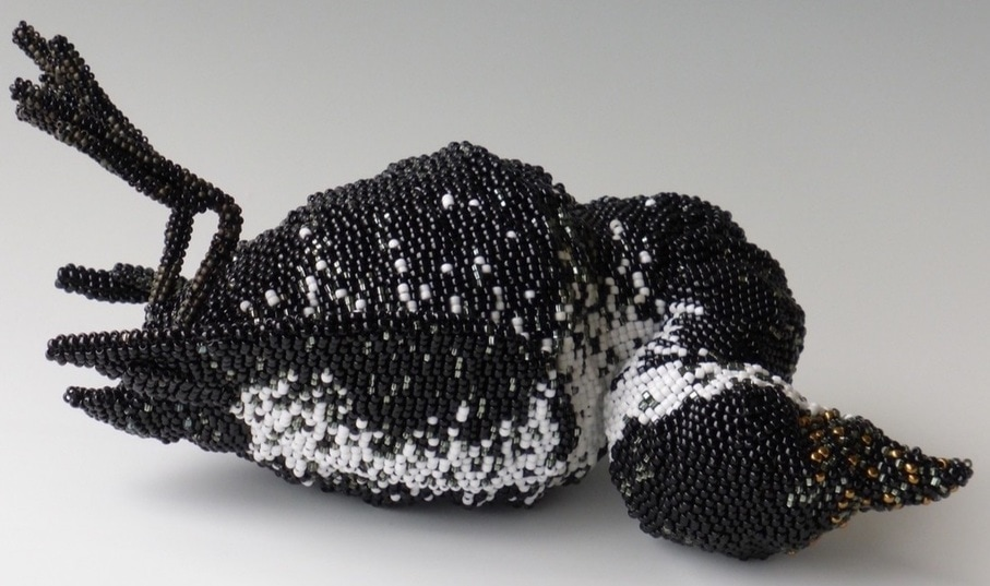 Beth Blankenship, artist, oiled bird, bead sculpture, oil spill, Alaska animals, contemporary craft
